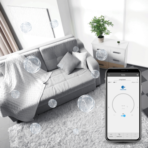 Comfort Cloud App interface showing nanoe mode is turned on in living room