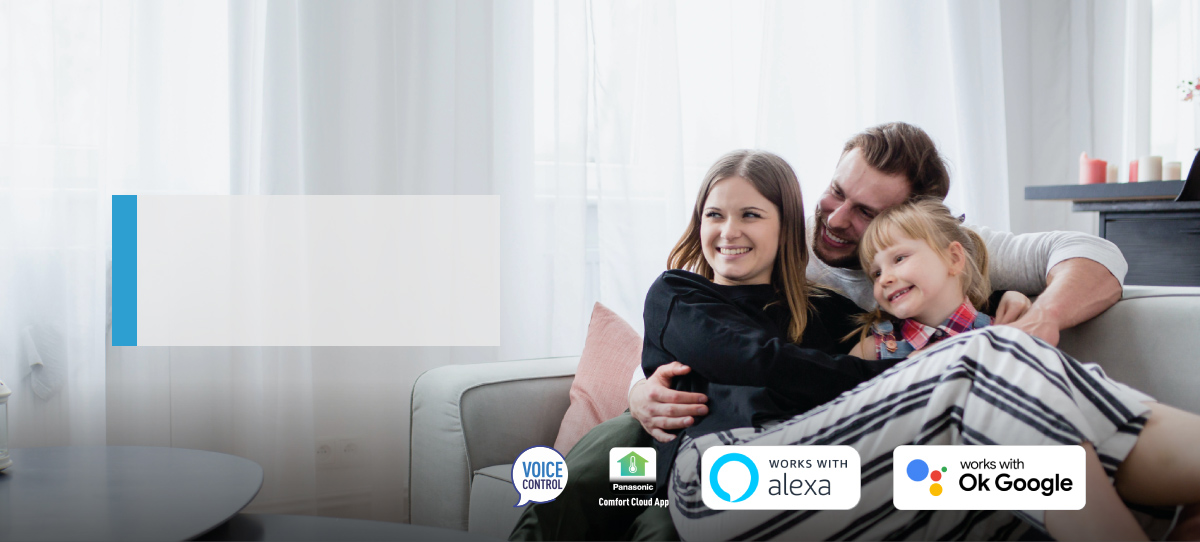 A man and two girls spending time in living room with voice control headline