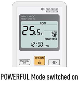Powerful mode switched on indication on remote control