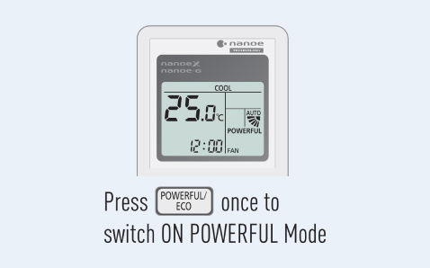 Step to switch on Powerful mode via remote control