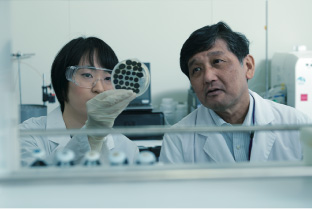 Professor Masafumi Mukamoto and a coworker examining sample in the research lab